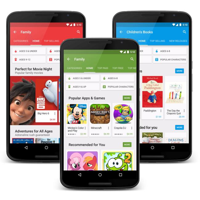 Google Play family screen trio