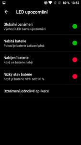 Konfigurace notif. diody