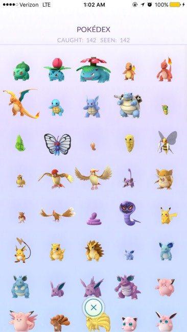 142 chycených Pokémonů, to je opravdu slušné číslo