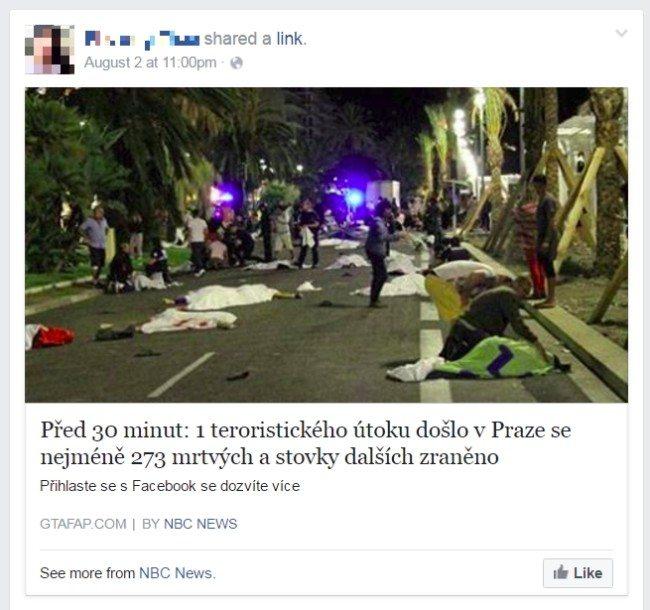 Fiktivní zpráva o teroristickém útoku v Praze