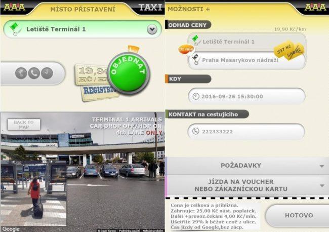 Mobilní aplikace – objednávka jízdy zletiště svizuální navigací k místu přistavení vozu