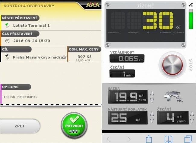 Mobilní aplikace – potvrzení objednávky a virtuální taxametr