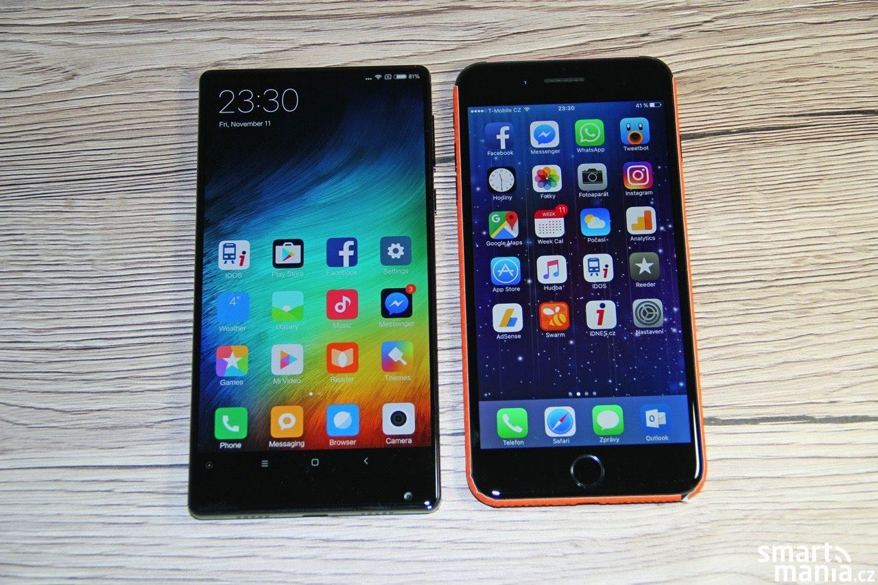 """Rozdíl ve velikosti není nijak výrazný: 6,4"""" Xiaomi Mi Mix vs. 5,5"""" iPhone 7 Plus"""