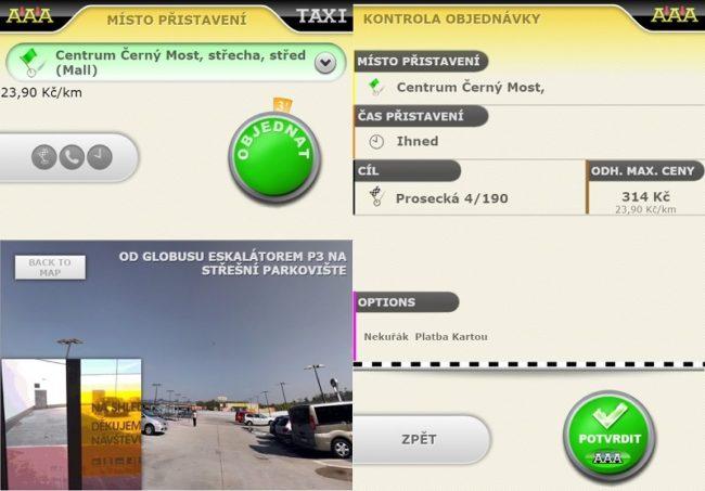 Navigace kmístu přistavení vozu a potvrzení objednávky