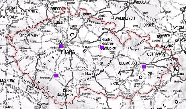Mapa vysílačů v ČR
