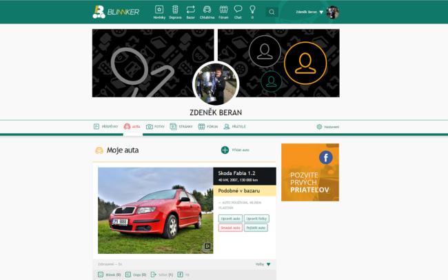 Stránka s informacemi o uživateli