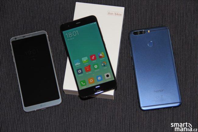 Zleva LG G6, Xiaomi Mi 6 a Honor V8 Pro