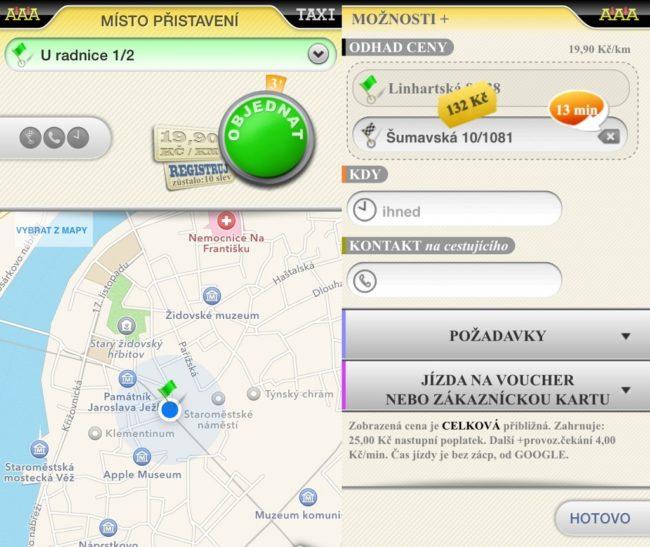 Aplikace určí vaši polohu a spočítá orientační cenu jízdy