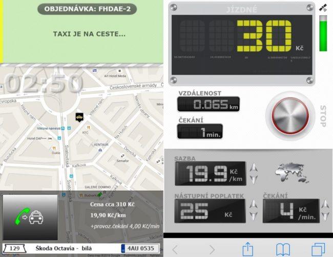 Sledujete příjezd taxíku a po nástupu do vozu můžete spustit taxametr