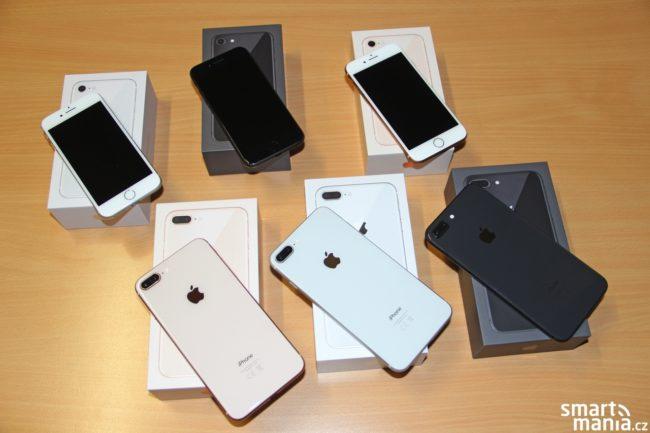 iPhone 8 a iPhone 8 Plus ve všech barevných variantách