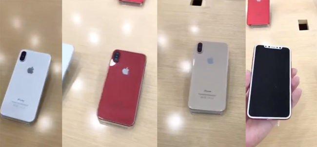 Screenshot z videa: iPhone X v bílé, červené a zlaté barvě. Chybí už jen černá varianta.