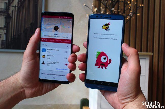 Blokování aplikací v praxi: vlevo je rodičovská verze aplikace, napravo smartphone dítěte, pro který jsme zakázali hraní hry Asphalt