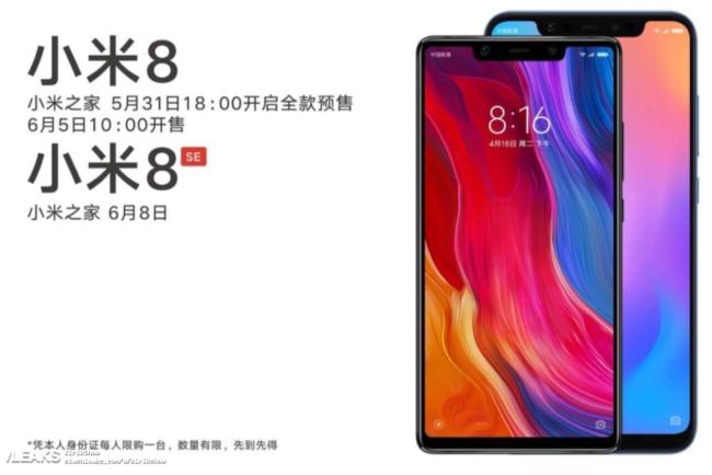 Xiaomi Mi 8 SE (vpředu) a Xiaomi Mi 8