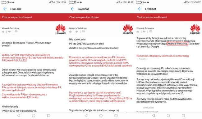 Kódové označení nové verze Androidu prozradil pracovník technické podpory Huawei v Polsku