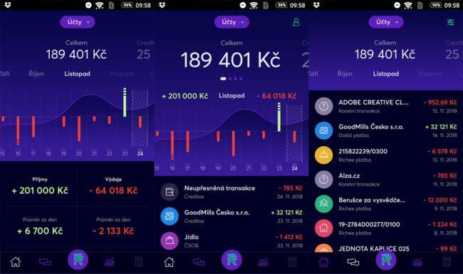 Takto vypadá prostřední chystané bankovní aplikace Richee pro Android