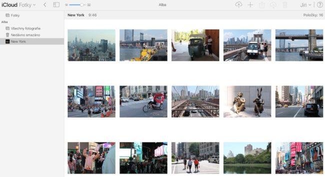 Obsah alba ve webové verzi Apple Fotek (iCloud)