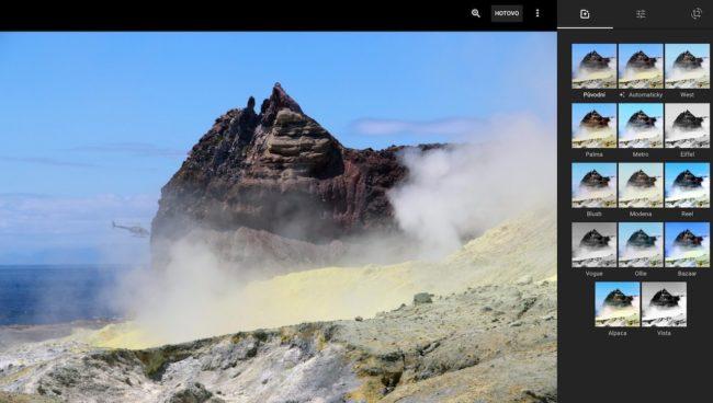 Google nabízí základní editor fotografií s filtry přímo ve webovém prohlížeči