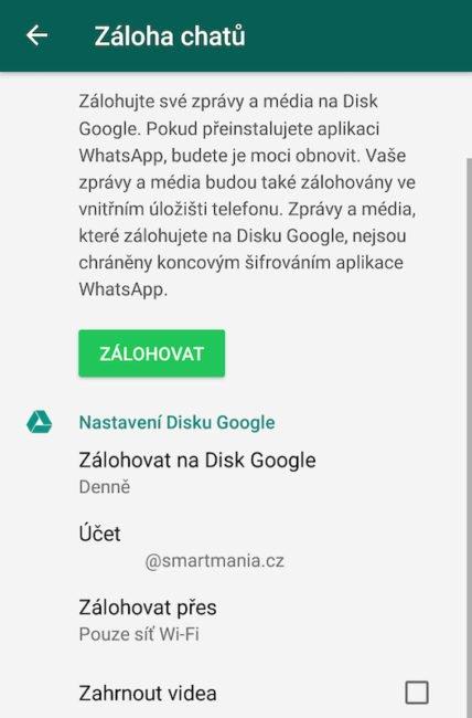 Nastavení zálohování na Disk Google v aplikaci WhatsApp pro Android