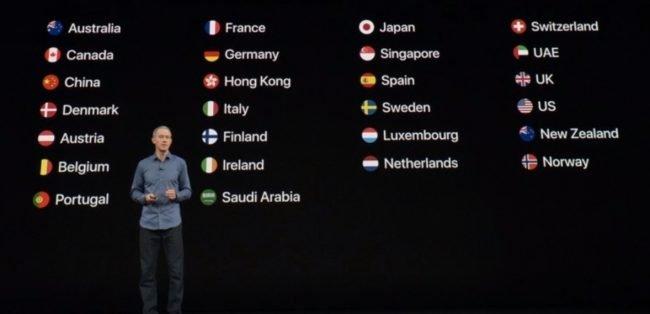 Seznam zemí, kde budou Apple Watch 4 dostupné v první vlně (k 21. září). Česká republika a Slovensko zde chybí.