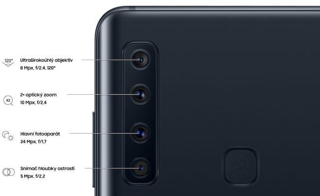 Galaxy A9 nabízí celkem čtyři hlavní fotoaparáty pro různé typy scén