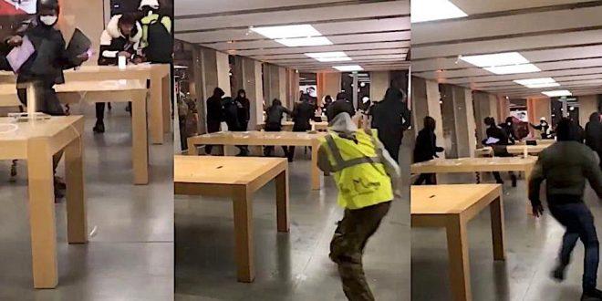 """Protestující """"žluté vesty"""" ve Francii vyrabovali Apple Store (video)"""