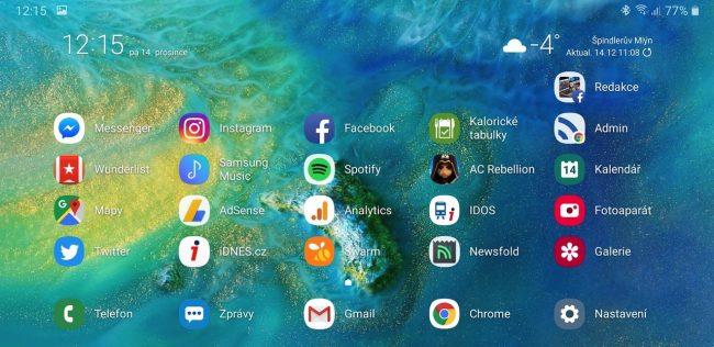 Hlavní obrazovka na Galaxy Note 9 v Landscape módu