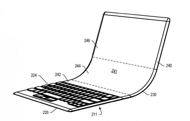 Obrázek z patentové přihlášky naznačuje, jak by ohebný notebook mohl vypadat