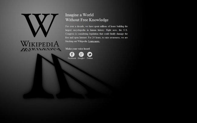 Wikipedia Blackout Screen