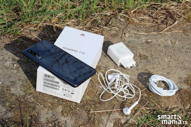 Obsah balení a design Huawei P30