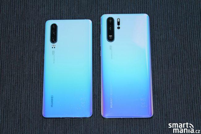 Huawei P30 vs. Huawei P30 Pro (v barvě Breathing Crystal)