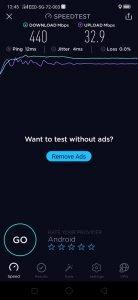 O2 5G mereni Speedtest