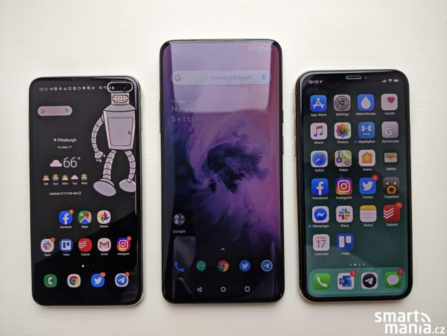 Samsung Galaxy S10e, OnePlus 7 Pro a iPhone Xs