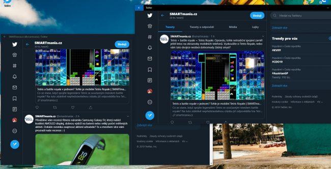 Twitter nainstalovaný z Edge (vlevo) a Twitter ze Store (vpravo)