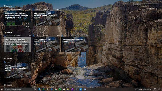Vyhledávání v Časové ose Windows