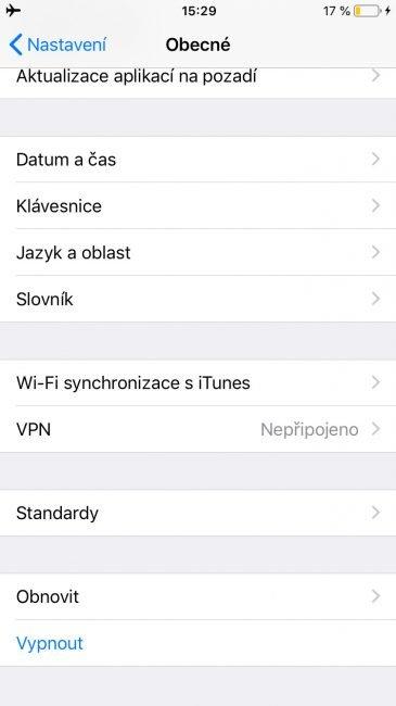 Vypínání zařízení iOS z nastavení