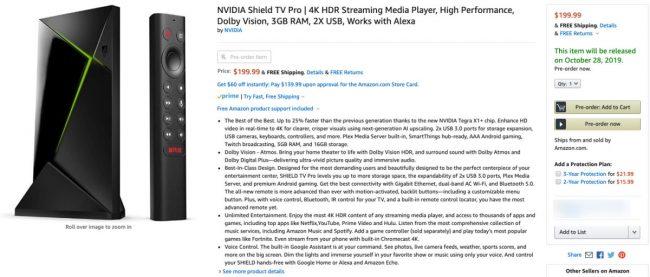 nvidia shield tv pro amazon leak