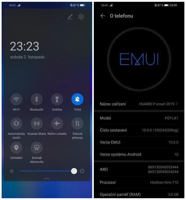 EMUI 10 na smartphonu Huawei P smart 2019