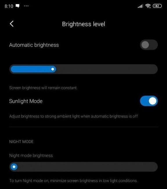 sunlight mode