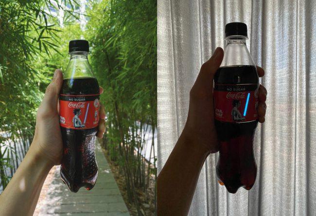 coca cola lahev svetelny mec
