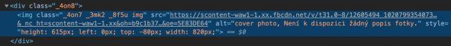 Cílová adresa obrázku ve zdrojovém kódu stránky