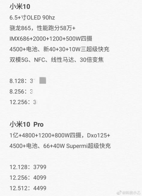 Očekávané specifikace Xiaomi Mi 10 a Mi 10 Pro