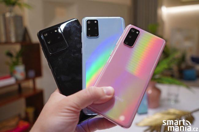 Zleva Samsung Galaxy S20 Ultra, S20+ a S20