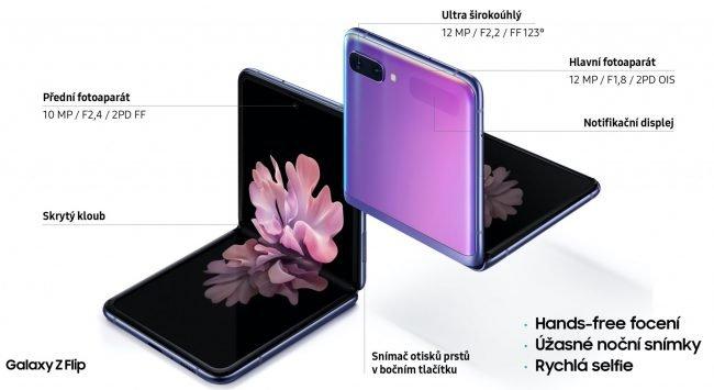 Specifikace fotoaparátů u Samsungu Galaxy Z Flip