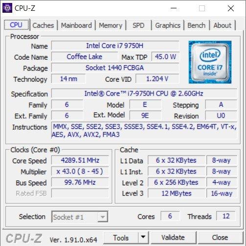 Lenovo Thinkpad P53 cpuz