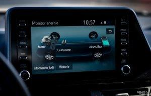 Toyota tradičně nabízí zobrazení informací o hybridním systému.