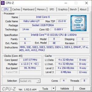 HP probook 440 g7 cpuz