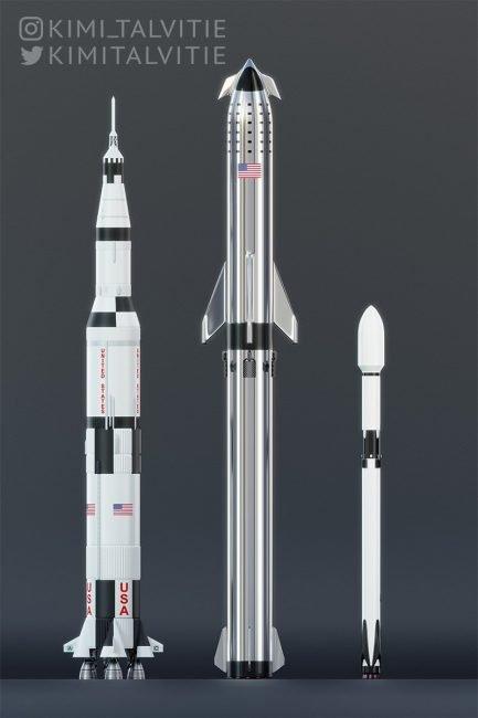 spacex starship saturn falcon