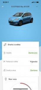 Aplikace ukazuje stav vozidla.