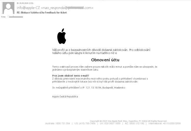 apple podvodny email
