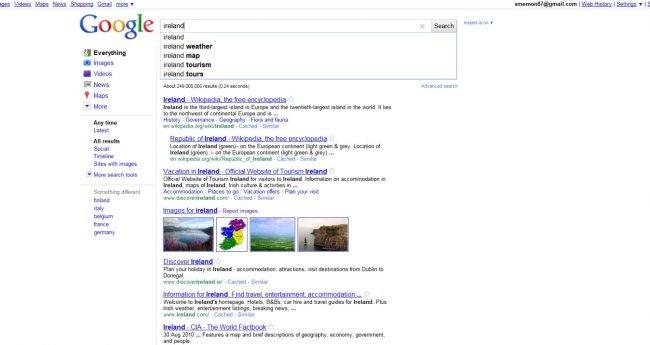 stary google vyhledavac